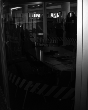Etched window manifestation at Durham University